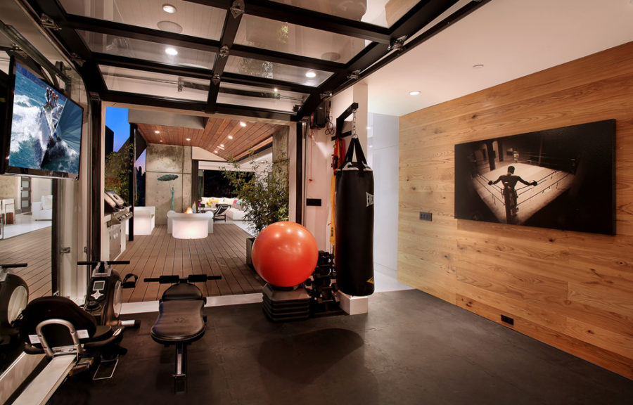 fitness room inside a garage